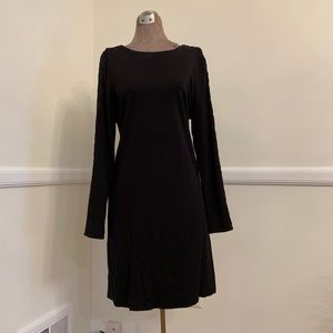 Black knit sheath with lace sleeves Size L